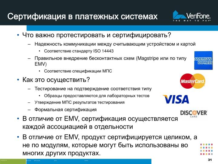 Сертификация в платежных системах