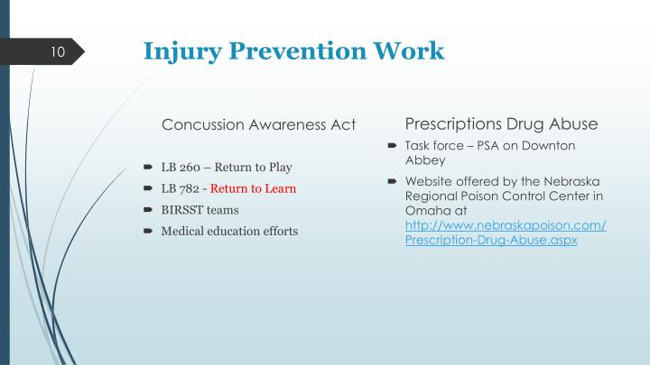 Injury Prevention Work