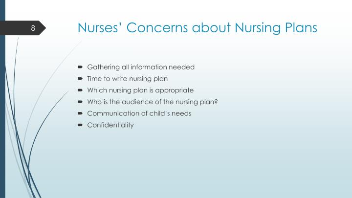 Nurses' Concerns about Nursing Plans