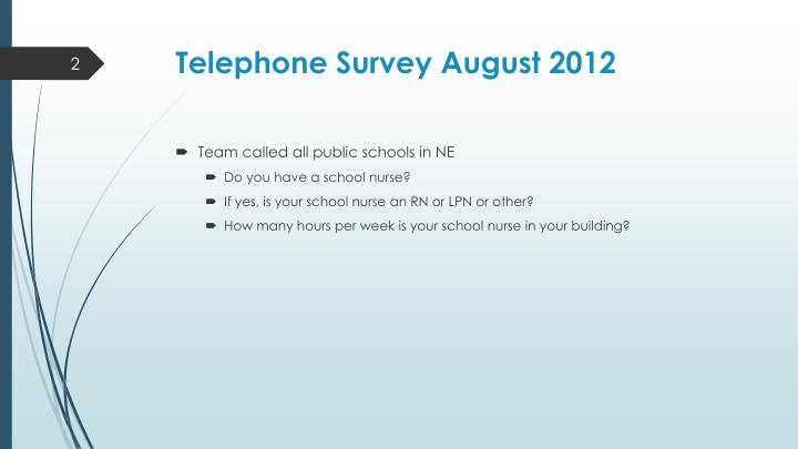 Telephone survey august 2012
