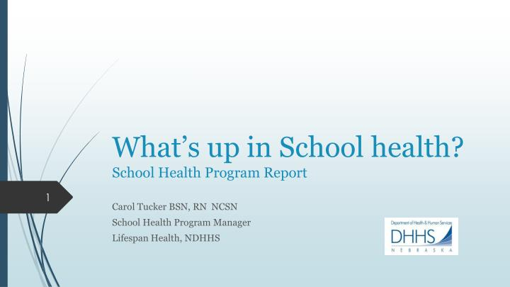 What s up in school health school health program report