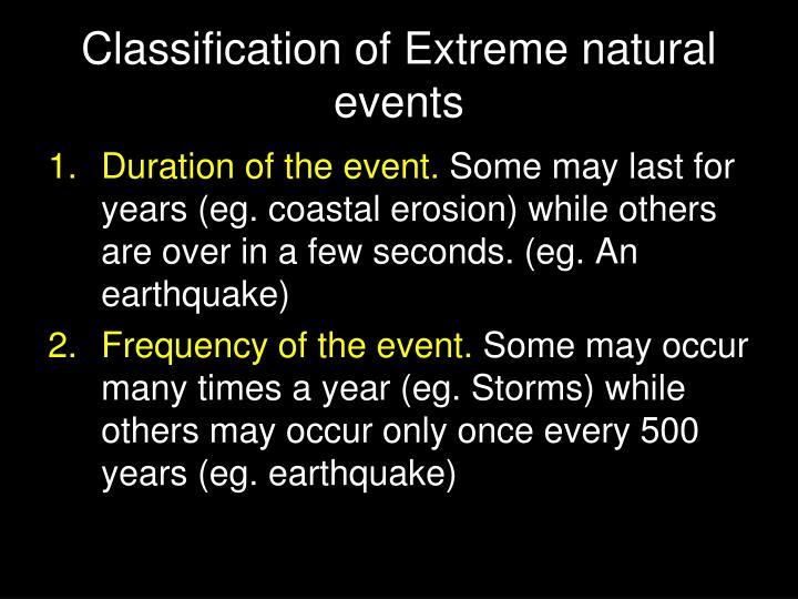 Classification of Extreme natural events