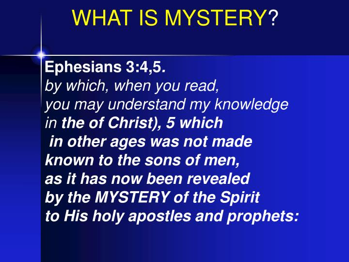 WHAT IS MYSTERY