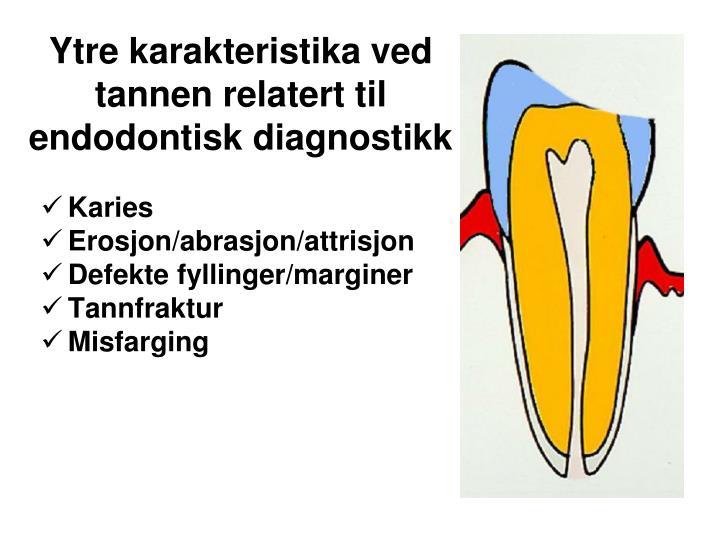 Ytre karakteristika ved tannen relatert til endodontisk diagnostikk