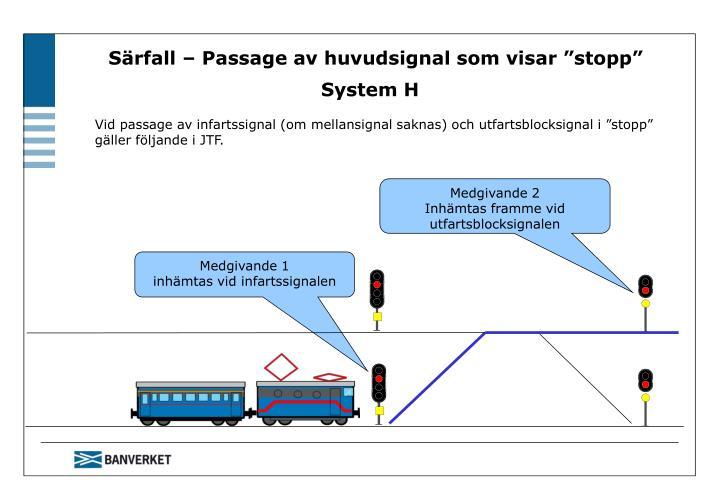 """Särfall – Passage av huvudsignal som visar """"stopp"""" System H"""