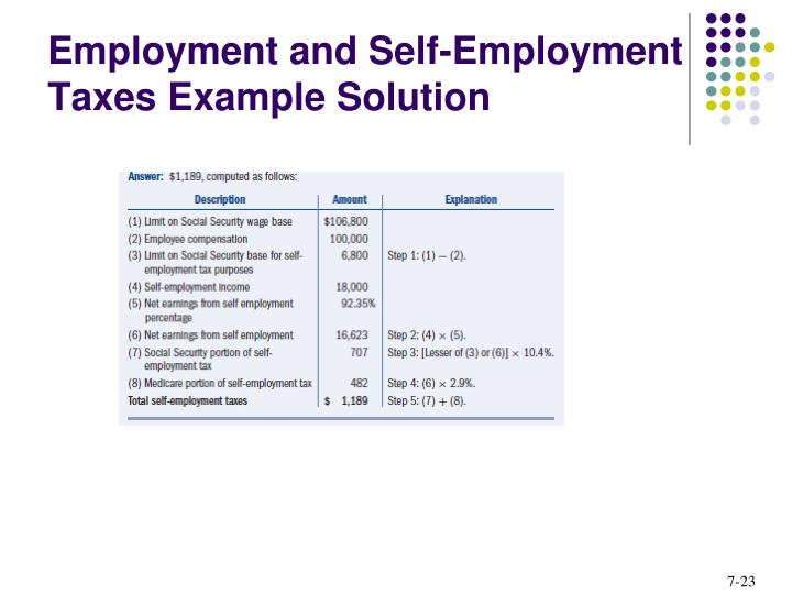 Employment and Self-Employment Taxes Example Solution
