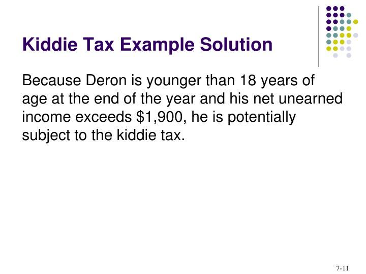 Kiddie Tax Example Solution