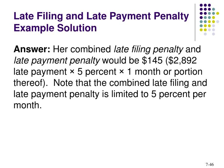 Late Filing and Late Payment Penalty Example Solution