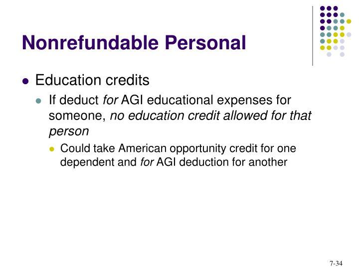 Nonrefundable Personal