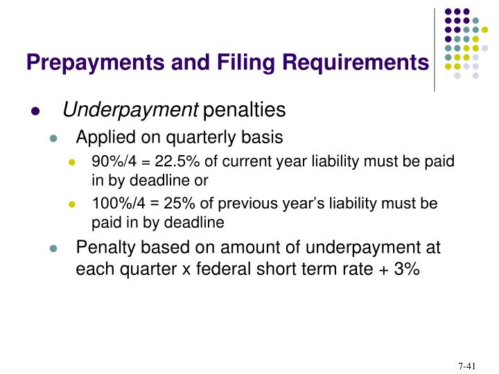 Prepayments and Filing Requirements