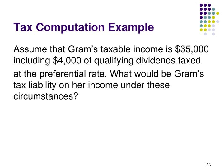 Tax Computation Example