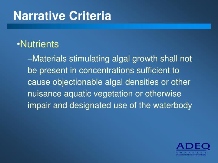 Narrative Criteria