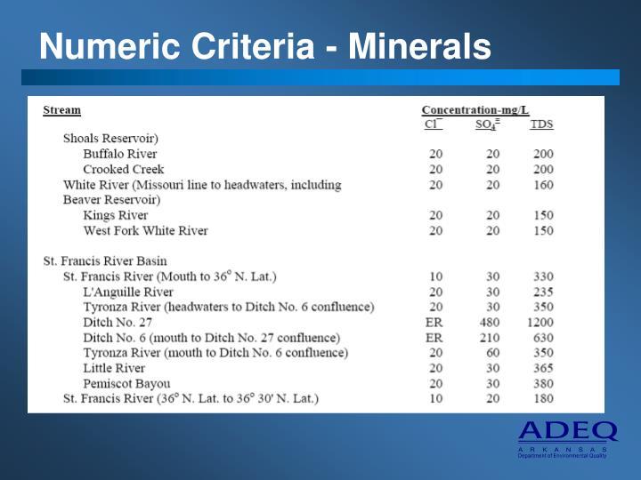 Numeric Criteria - Minerals