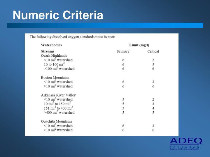 Numeric Criteria