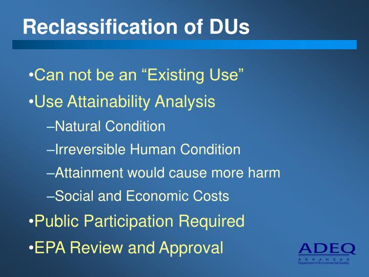 Reclassification of DUs