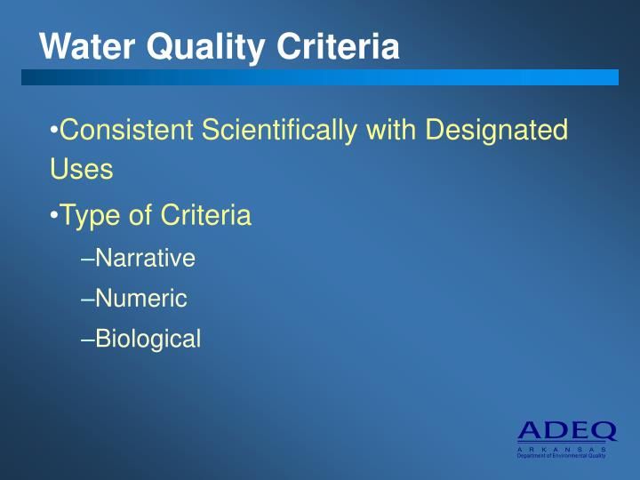 Water Quality Criteria