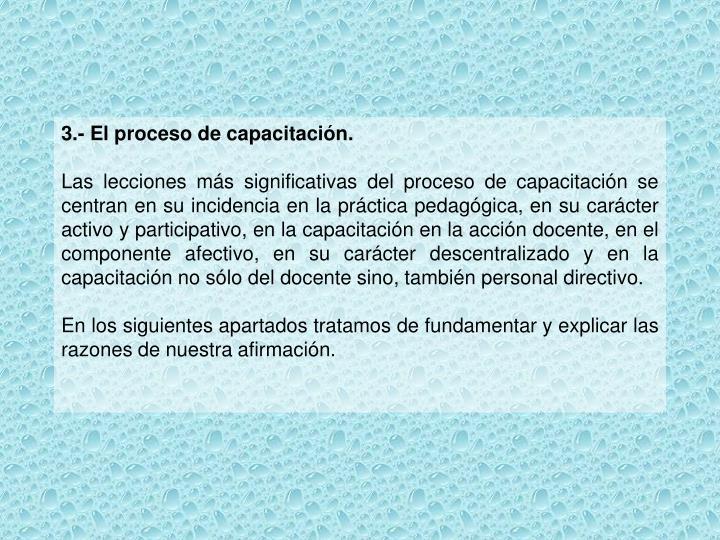 3.- El proceso de capacitación.