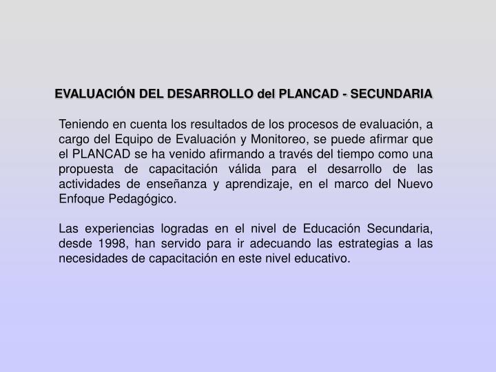 EVALUACIÓN DEL DESARROLLO del PLANCAD