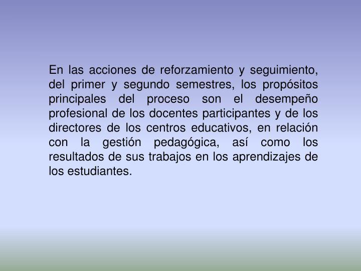 En las acciones de reforzamiento y seguimiento, del primer y segundo semestres, los propósitos principales del proceso son el desempeño profesional de los docentes participantes y de los directores de los centros educativos, en relación con la gestión pedagógica, así como los resultados de sus trabajos en los aprendizajes de los estudiantes.