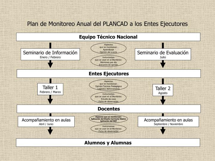 Plan de Monitoreo Anual del PLANCAD a los Entes Ejecutores