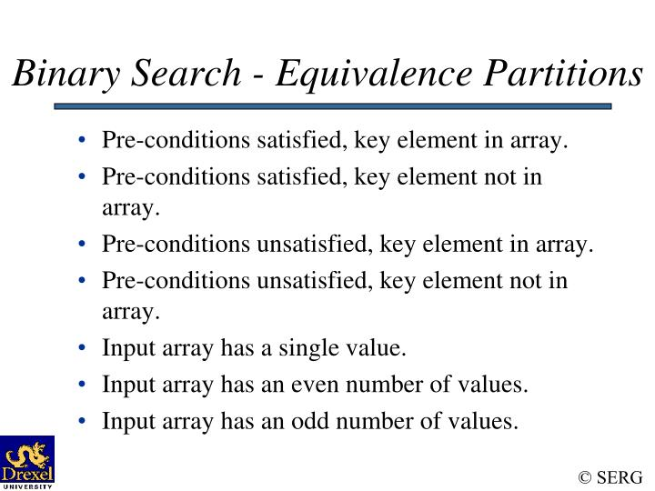 Binary Search - Equivalence Partitions