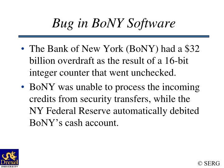Bug in BoNY Software
