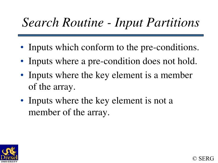 Search Routine - Input Partitions