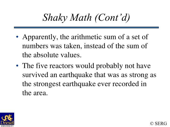 Shaky Math (Cont'd)