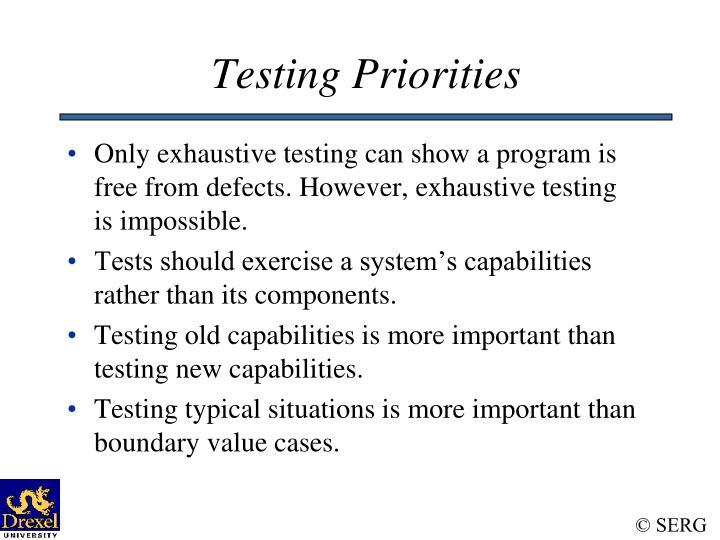 Testing Priorities