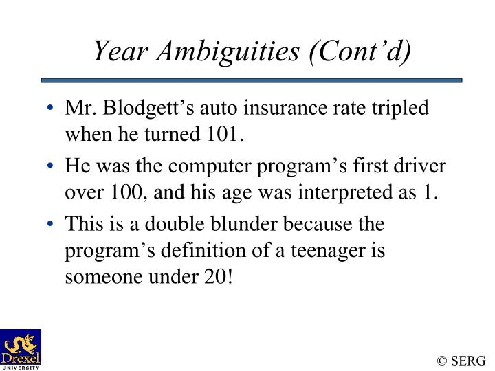 Year Ambiguities (Cont'd)