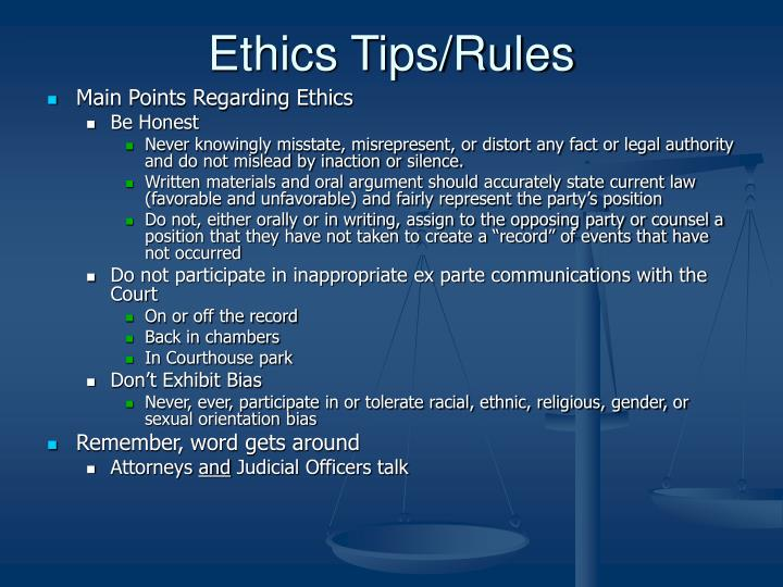 Ethics Tips/Rules
