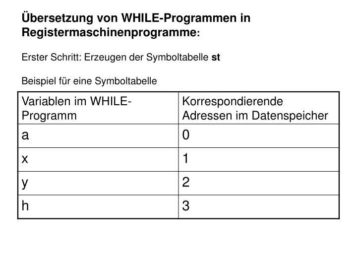 Übersetzung von WHILE-Programmen in Registermaschinenprogramme