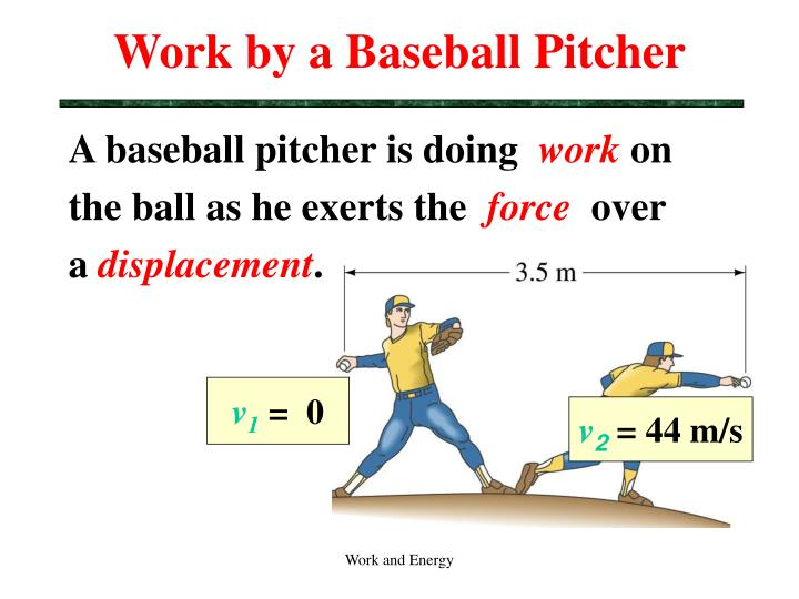 Work by a baseball pitcher