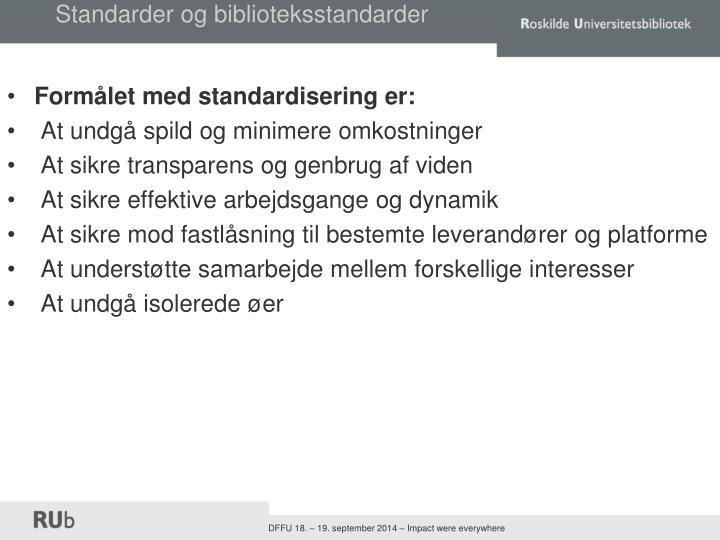 Standarder og biblioteksstandarder