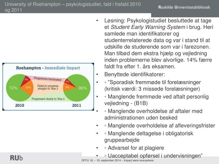 University of Roehampton – psykologistudiet, fald i frafald 2010 og 2011