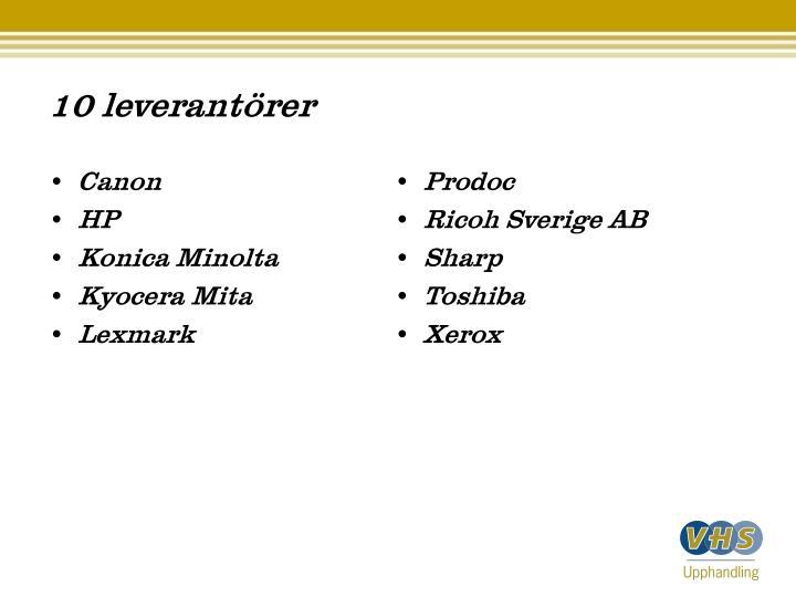 10 leverantörer