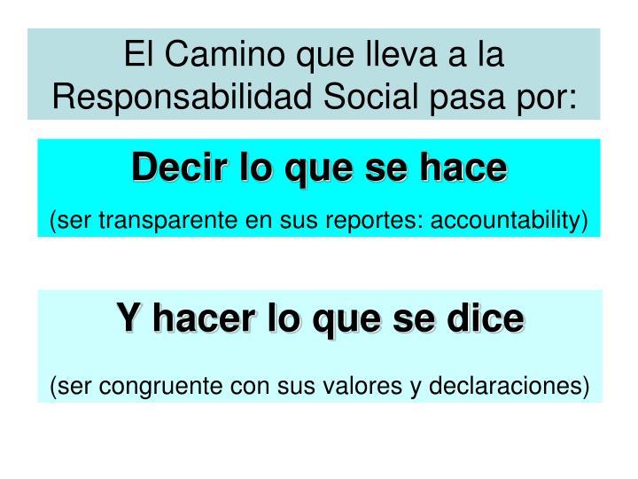 El Camino que lleva a la  Responsabilidad Social pasa por:
