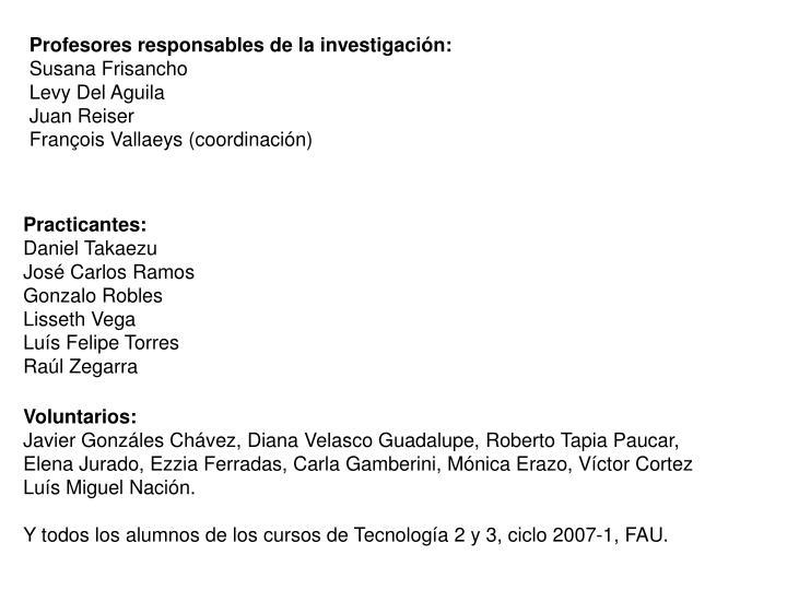 Profesores responsables de la investigación:
