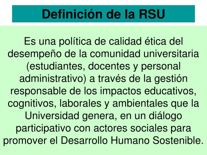 Definición de la RSU