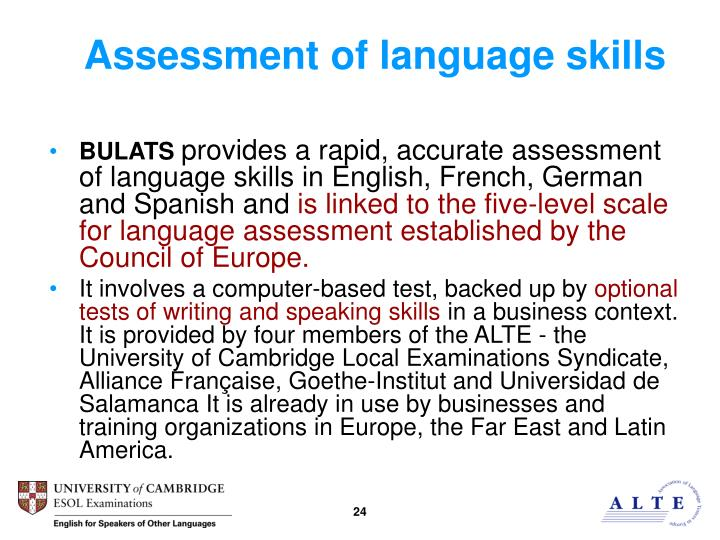 Assessment of language skills