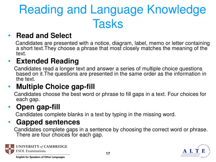 Reading and Language Knowledge Tasks