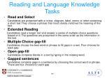 reading and language knowledge tasks
