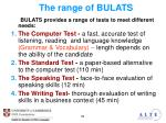 the range of bulats