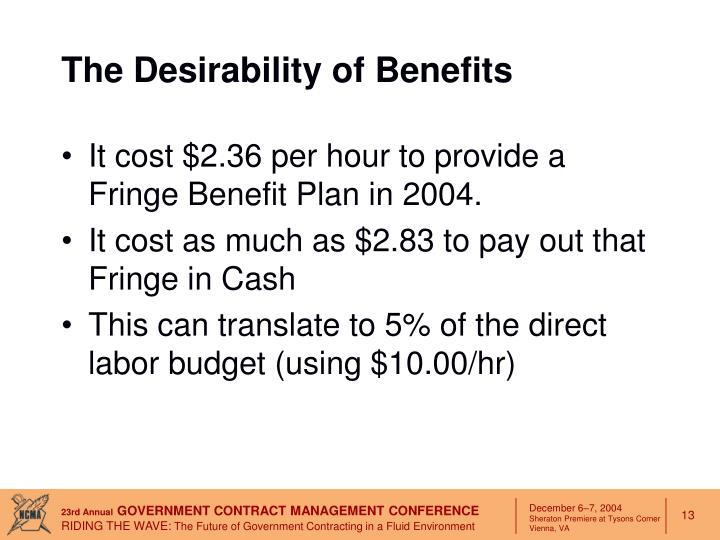 The Desirability of Benefits