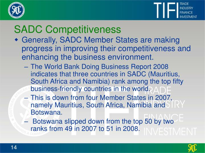 SADC Competitiveness