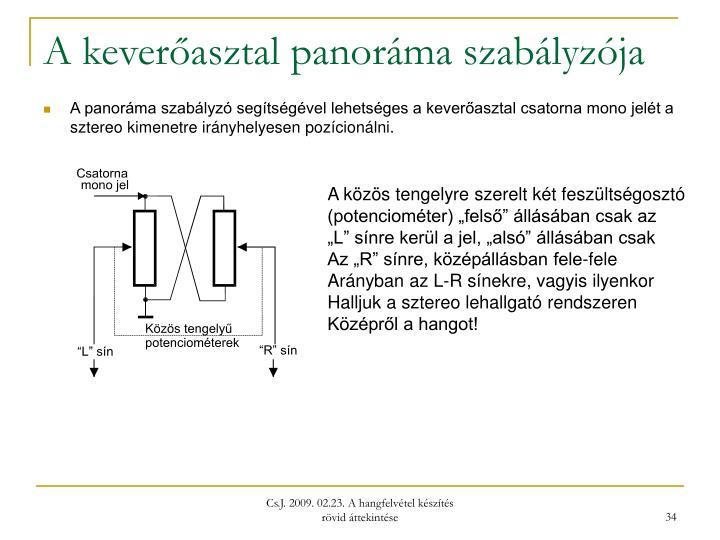 A keverőasztal panoráma szabályzója
