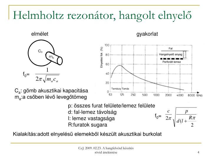 Helmholtz rezonátor, hangolt elnyelő