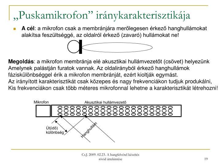 """""""Puskamikrofon"""" iránykarakterisztikája"""