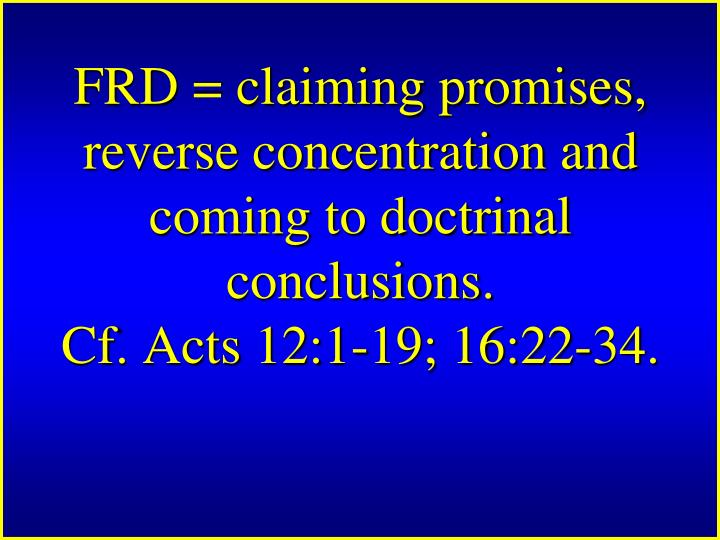 FRD = claiming promises, reverse concentration and coming to doctrinal conclusions.