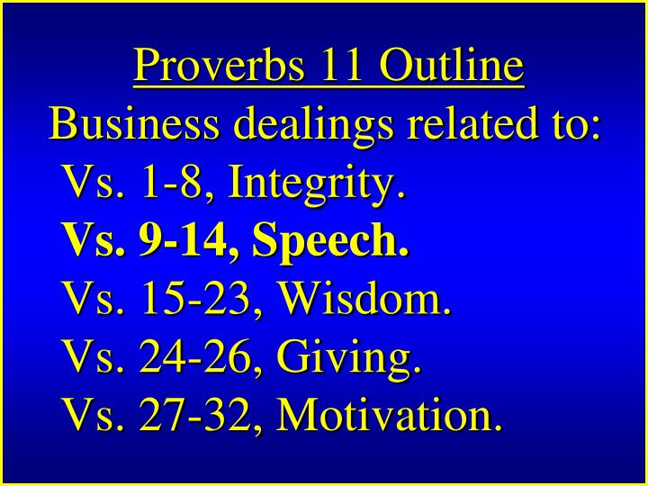 Proverbs 11 Outline